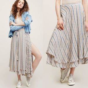 Free people good for you printed wrap skirt